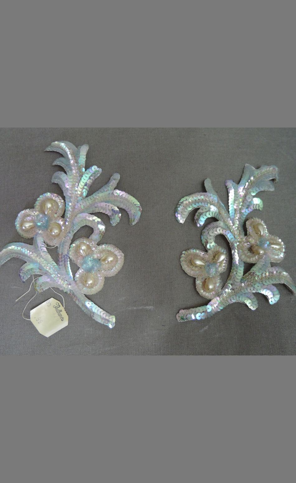 Vintage Set of 1940s Sequin Dress Appliques Pale Pink & Blue with Pearls
