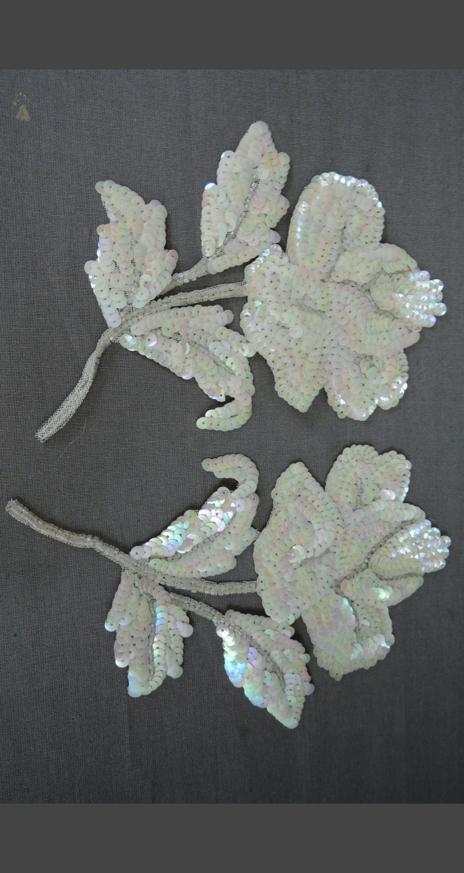 Vintage Set of 1940s Sequin Dress Appliques Floral Roses 6-1/2 inches