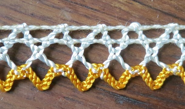 Vintage Ivory and Yellow Rayon Crochet Trim, 10-1/2 yards