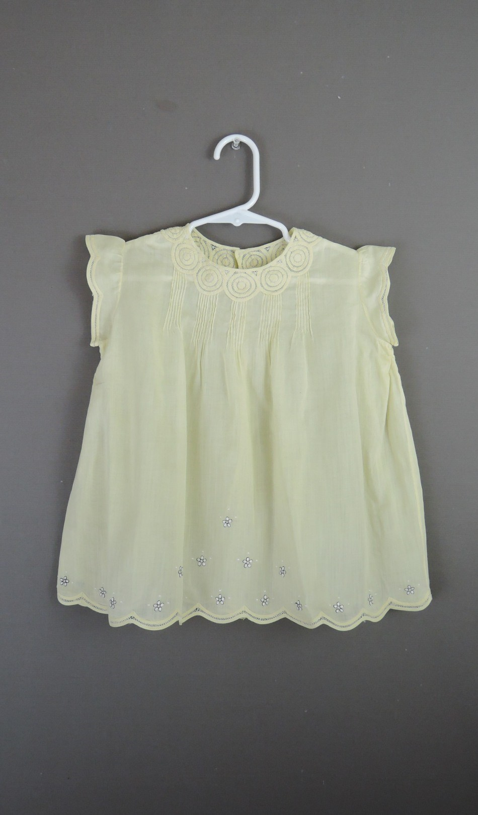 Vintage Yellow Baby Toddler Dress 1930s, 26 inch chest All hand sewn