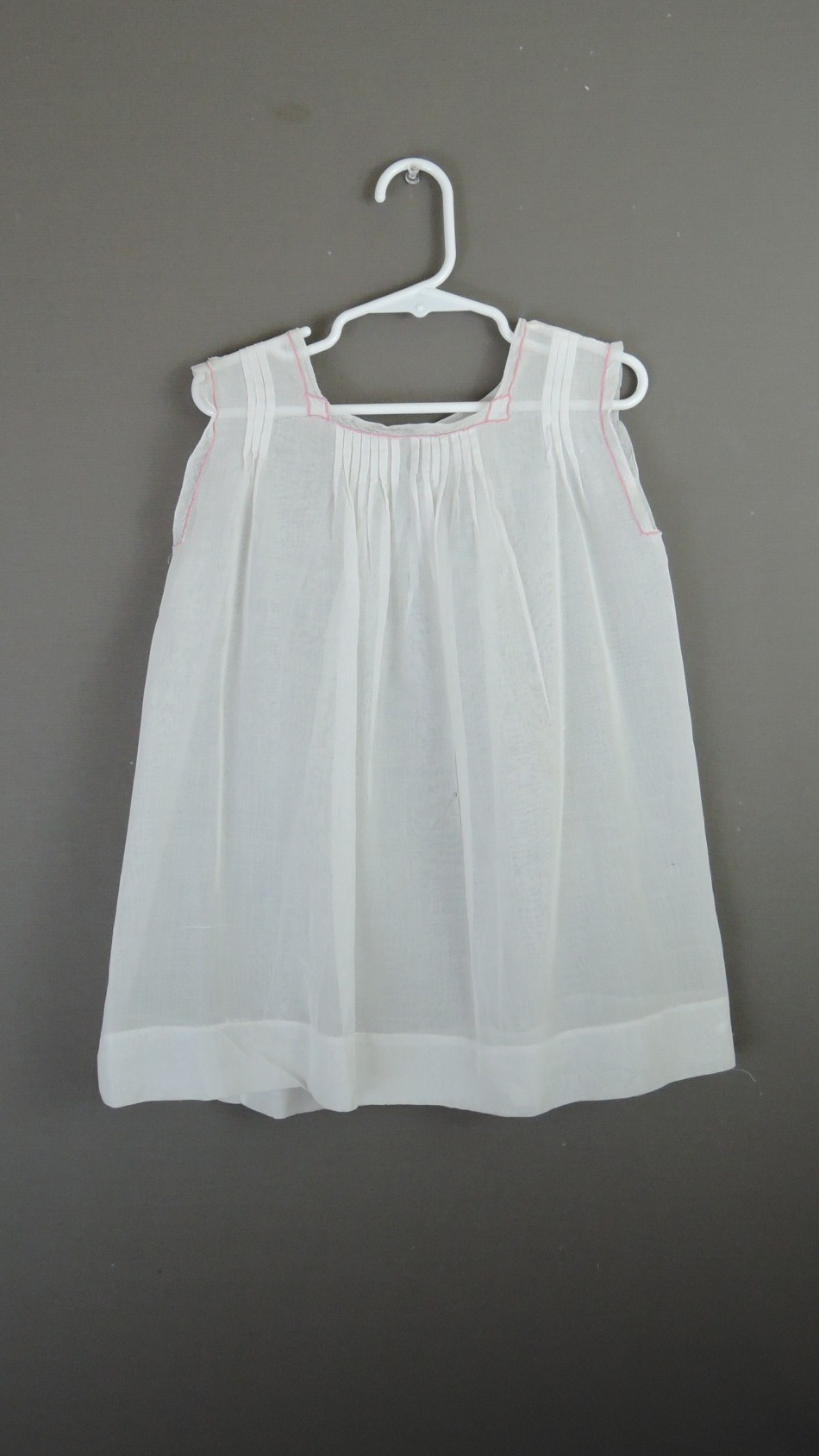 Vintage Baby Toddler Dress White with Pink Trim, 1930s 24 inch chest, some issues