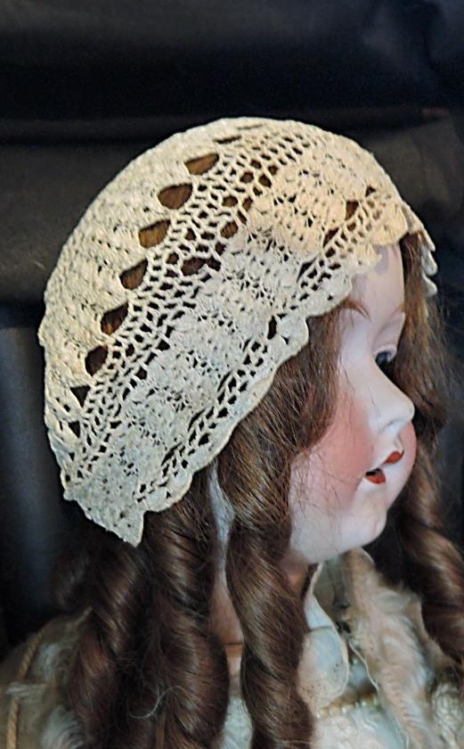 Antique Crochet Baby Bonnet Hat, Handmade 1900s, fits 16-17 inch head, Large Doll