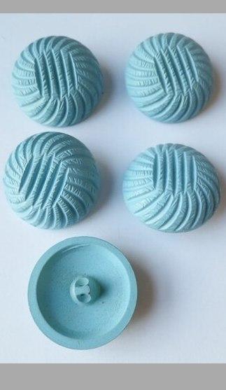 Vintage Set of 5 Light Blue Carved Plastic Buttons, 1960s