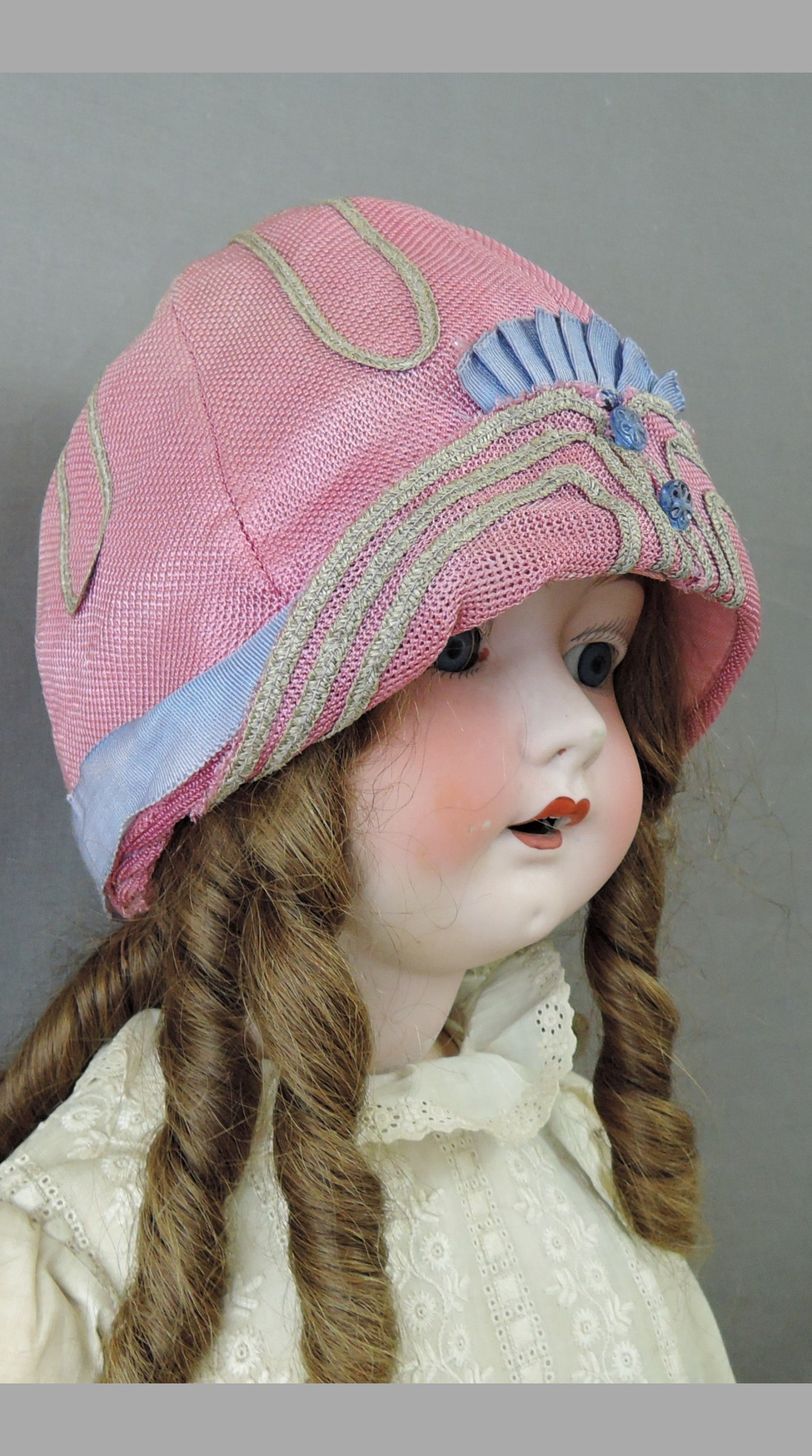 Vintage 1920s Little Girl Cloche Hat Pink Straw, with issues