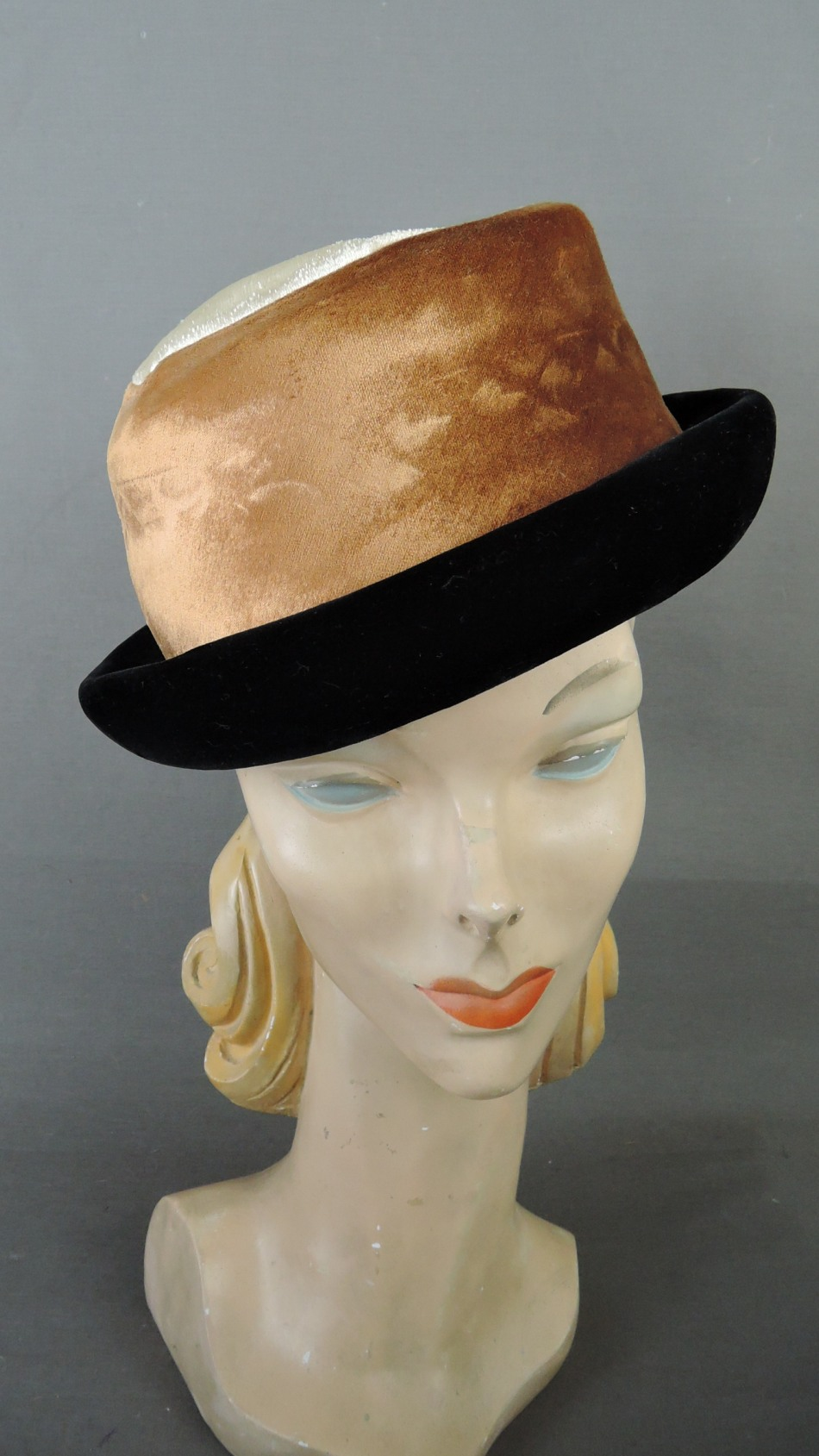 Vintage Ivory, Brown & Black Velvet Hat 1960s 21 inch head