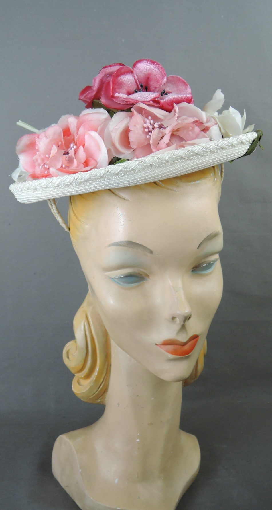 Vintage Pink & Floral Straw Hat 1950s Topper, fits any size