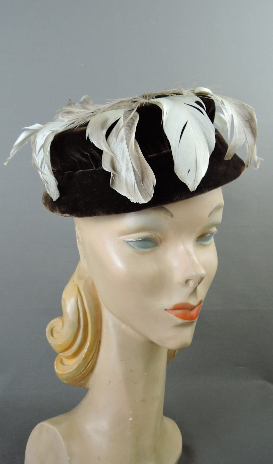 Vintage Brown Velvet and Feathers Hat, 1950s Evening Cocktails