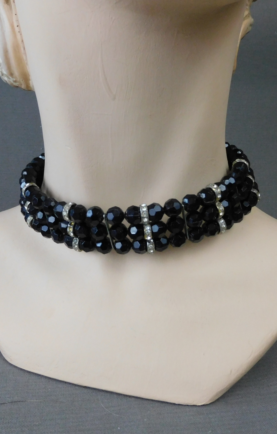 Vintage Black Beads Choker Necklace, 3 wire rows with Rhinestones 1950s 1960s