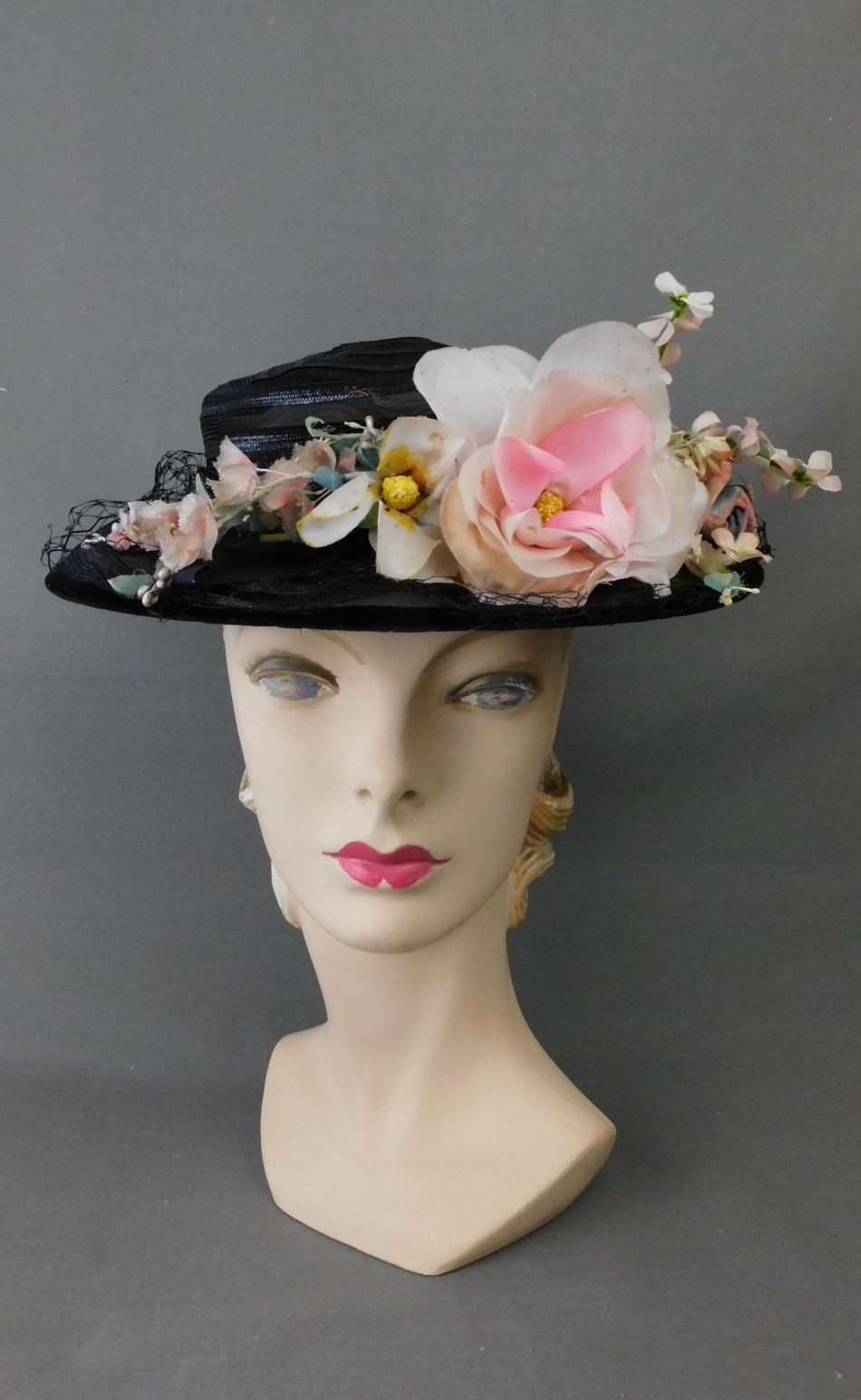 Vintage Sheer Black & Pink Floral 1940s Hat, New York Creation