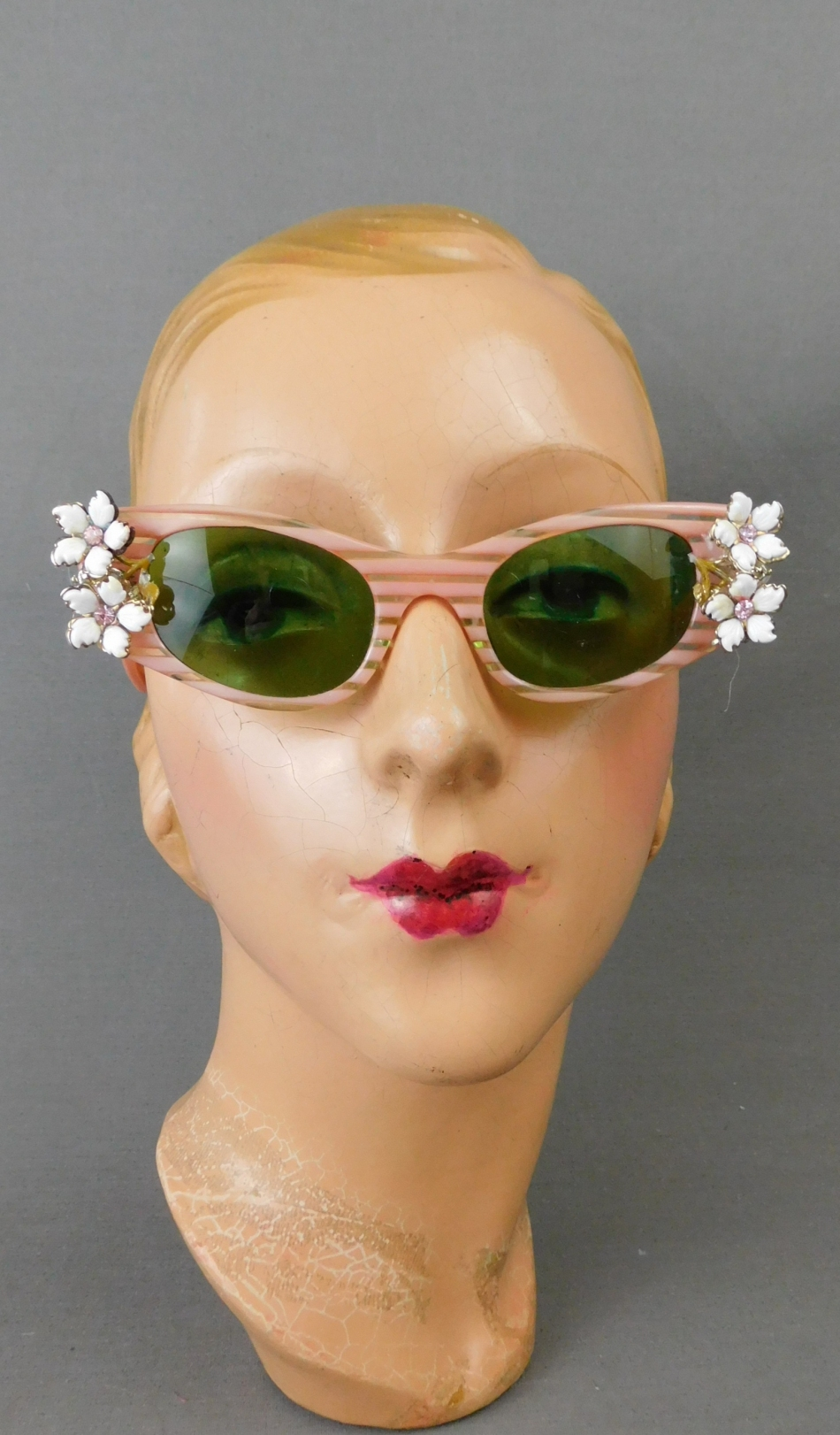 Vintage Pink Striped Lucite Sunglasses with Rhinestone Flowers, 1950s 1960s