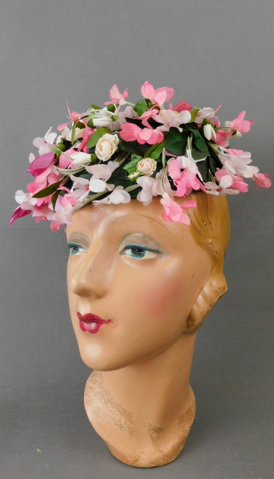 Vintage Pink Floral Topper Hat 1950s Pillbox, Green Leaves, Worth of Boston