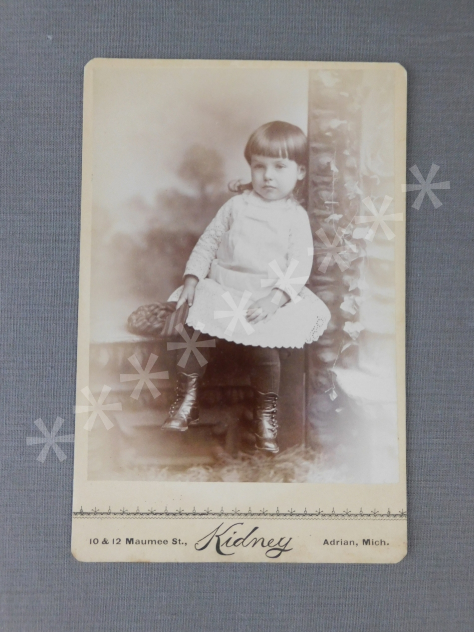 Vintage Victorian Girl Cabinet Photo, 1800s Photograph, Eyelet Dress Button Boots