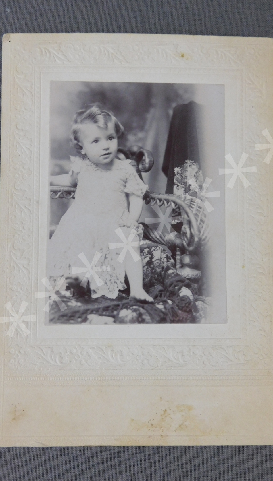 Vintage Victorian Baby Girl Cabinet Card Photo, 1800s Embossed Photograph