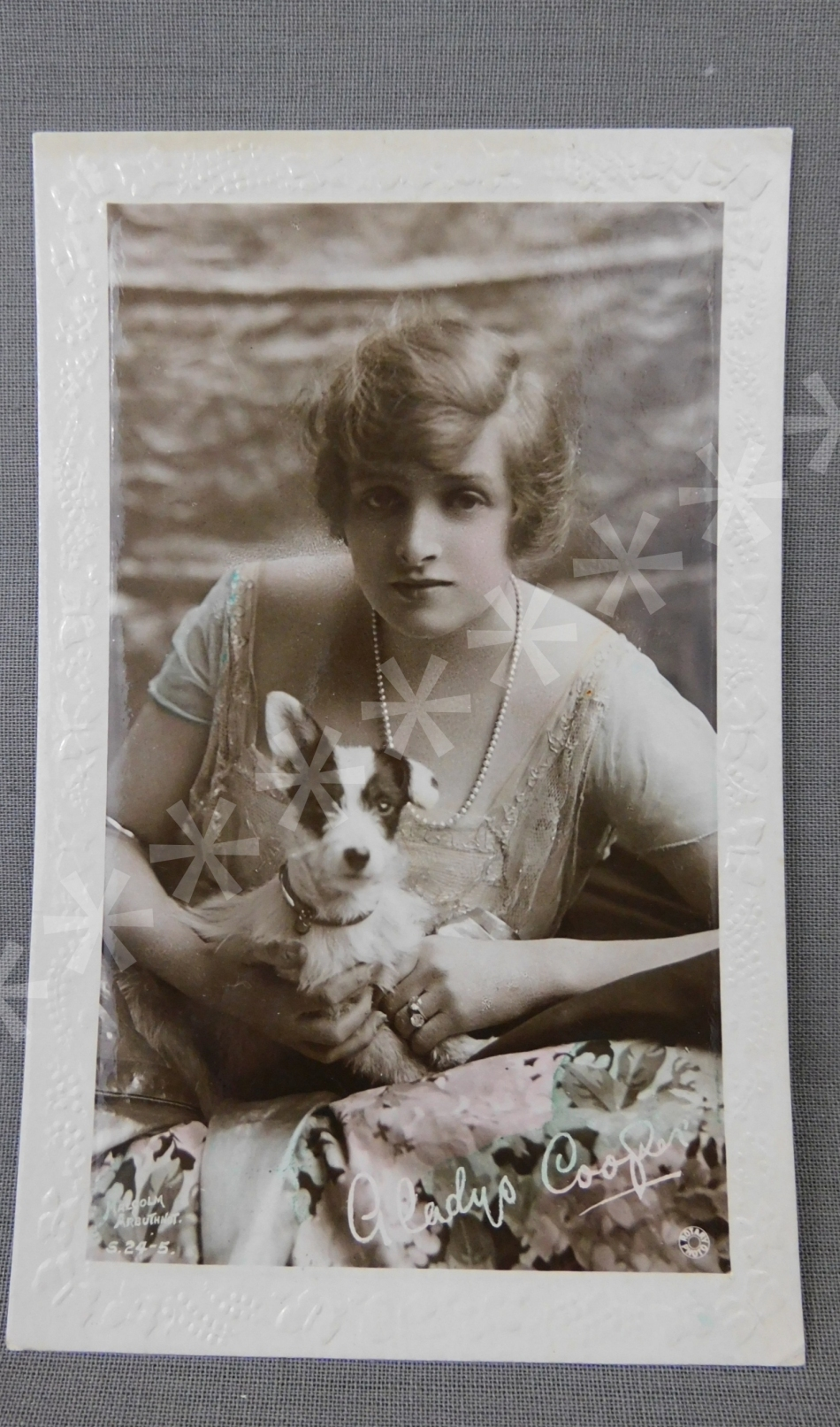 Vintage Gladys Cooper 1920s Photo Postcard, British Actress with Dog Handpainted