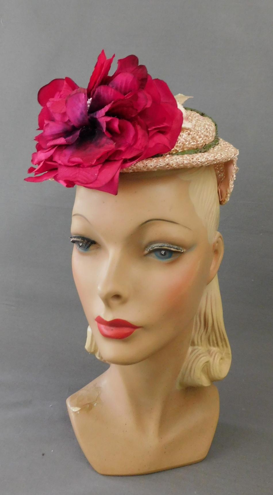 Vintage Pink Straw Floral Topper Hat 1950s, G. Howard Hodge