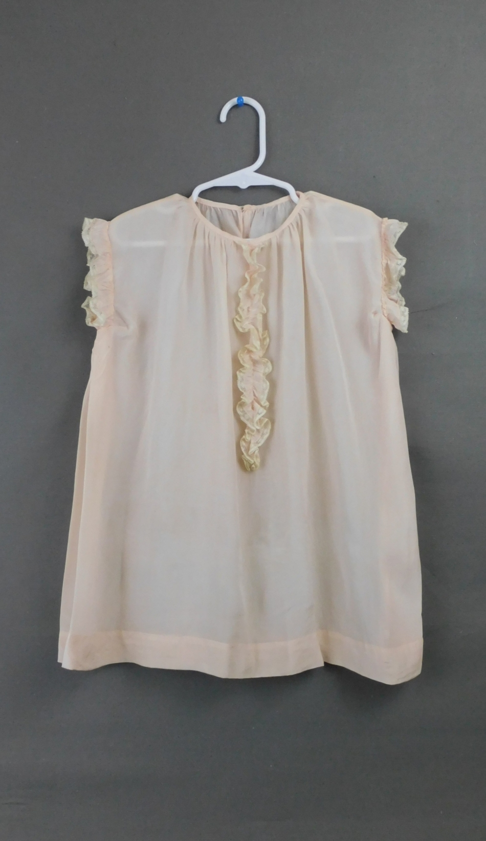 Vintage 1920s Little Girl Silk Dress Pale Peach with Ruffled and Lace, 28 inch chest