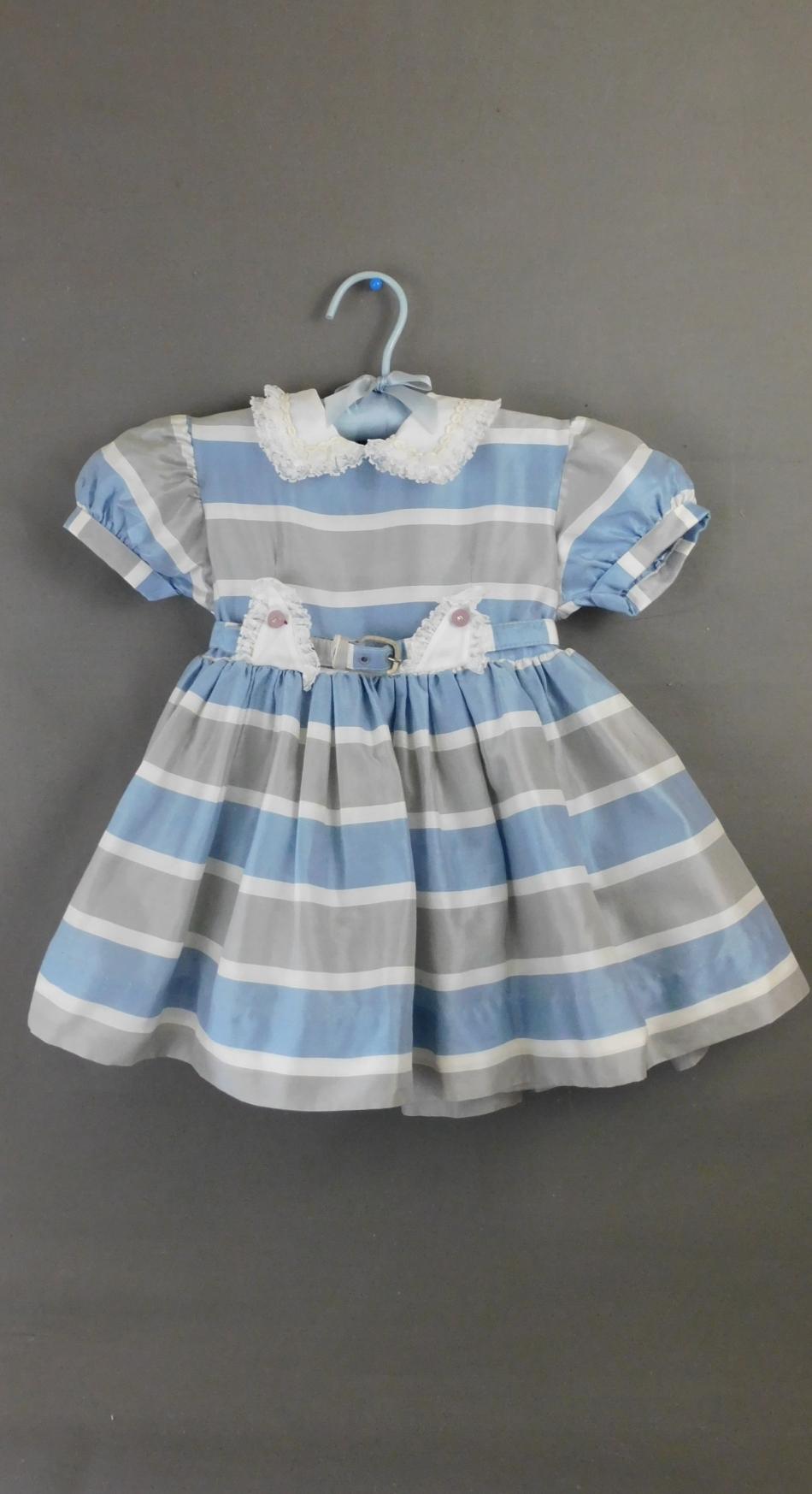 Vintage 1950s Little Girl Dress Blue & Grey Striped, Full Skirt with Crinoline, 22 inch chest