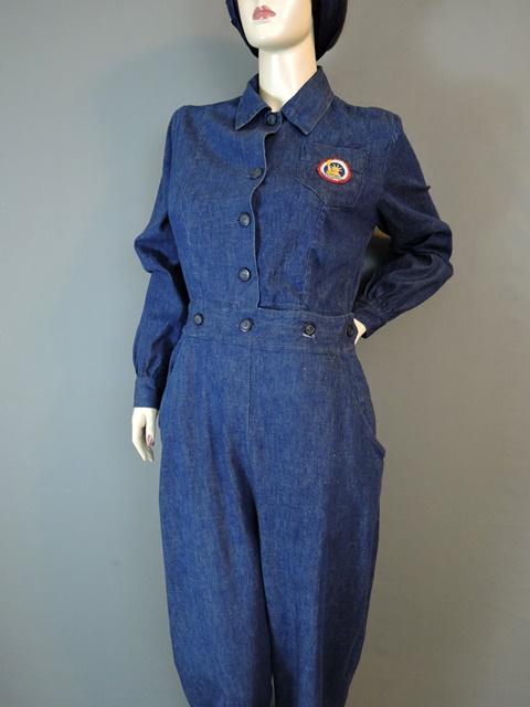 1940s Denim Coveralls WWII Workwear Uniform 36 38 bust Rosie the Riveter