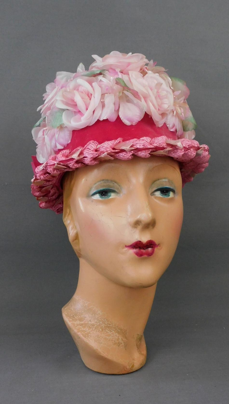 Vintage Pink Floral Straw Hat with Velvet Ribbon 1960s