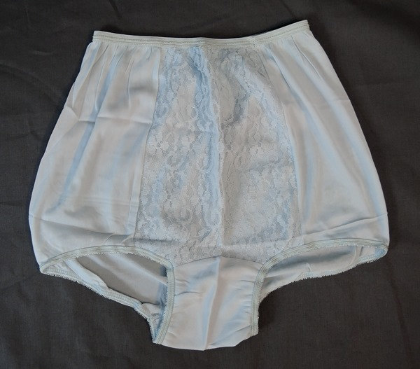1950s Blue Nylon Slip & Panties - Unworn, 26 waist, Panties with mushroom gusset