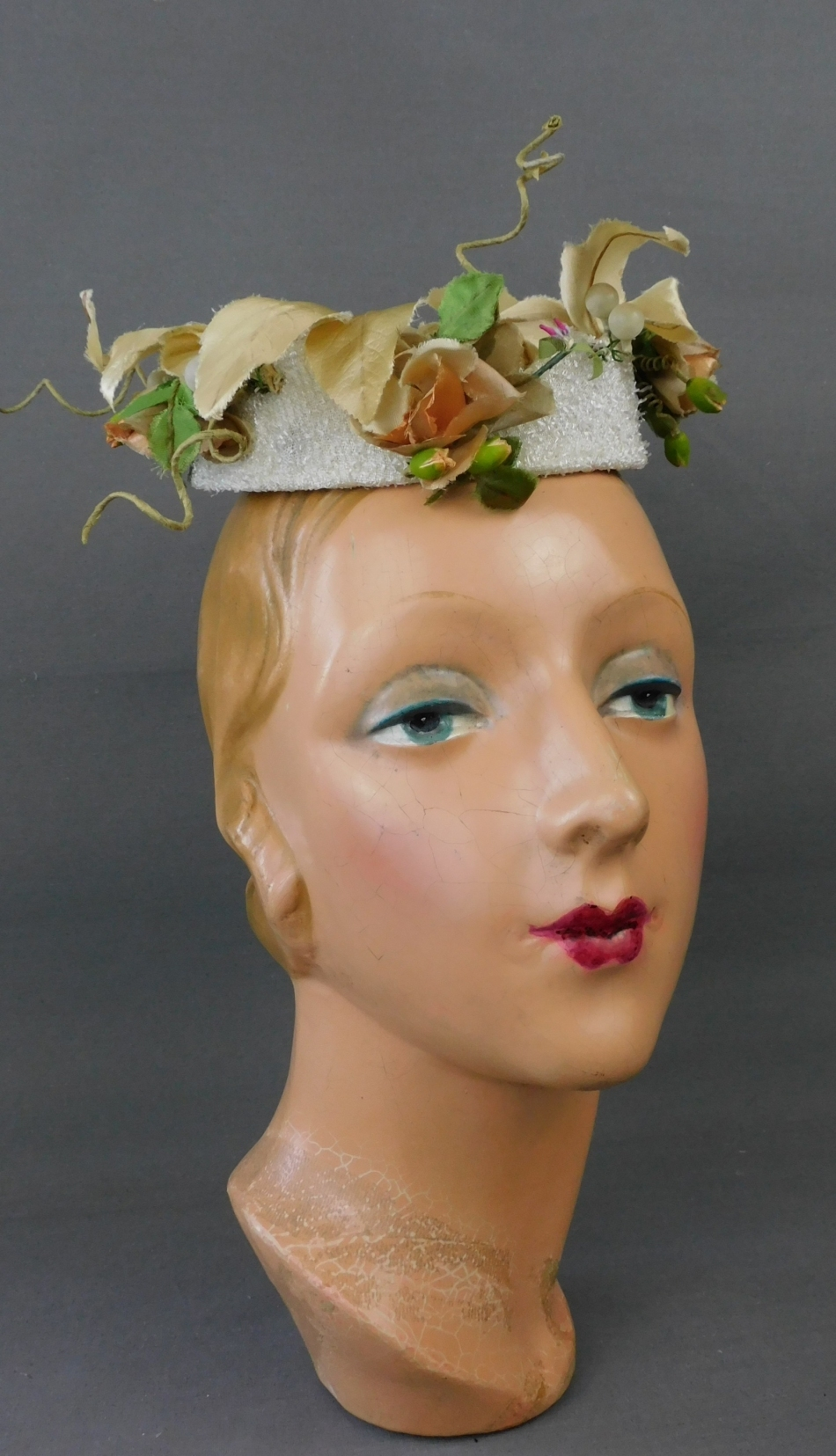 Vintage Floral Topper Hat 1960s Ivory Pillbox, Hats by Patricia
