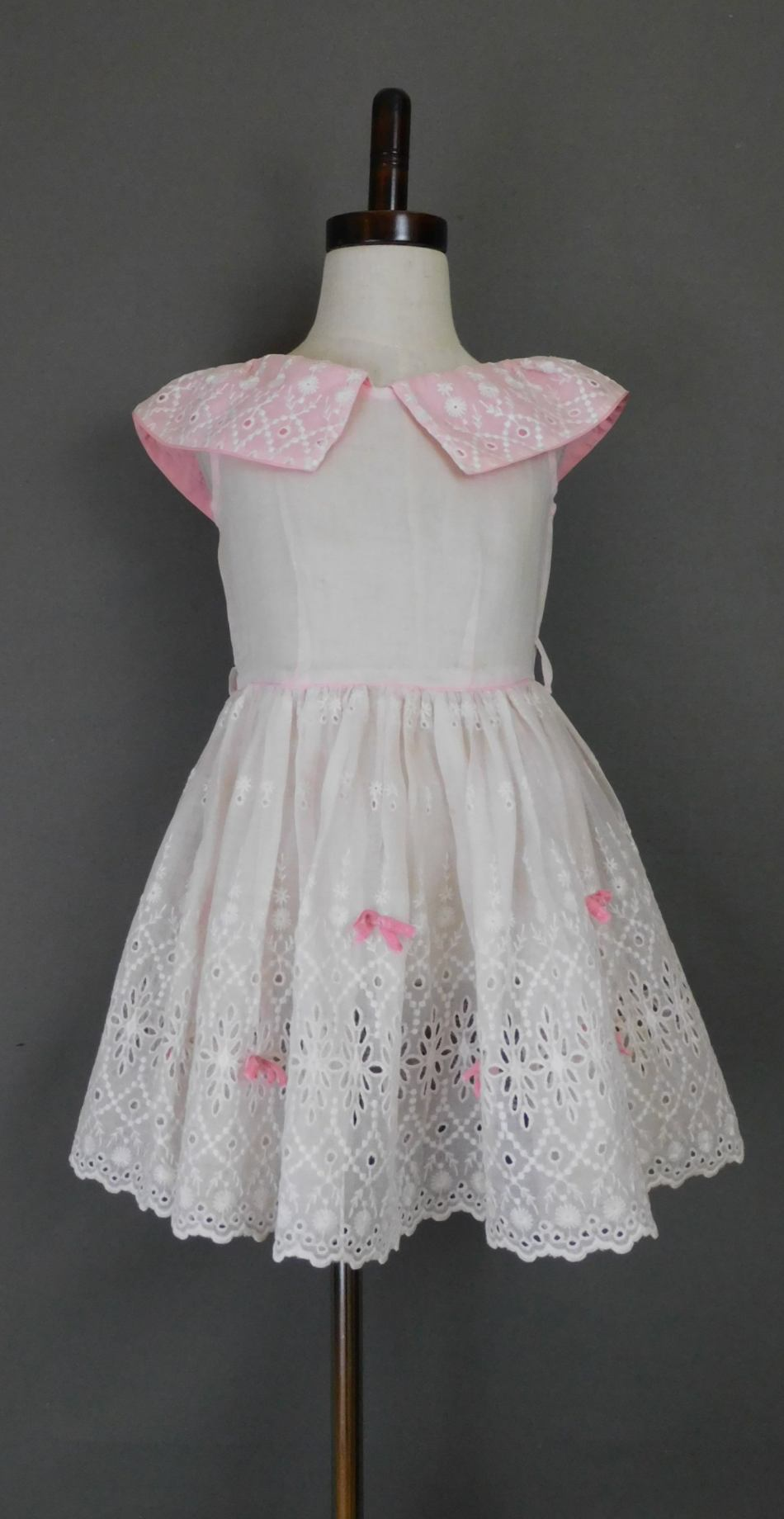 Vintage Little Girl 1940s Dress Sheer Pink Organdy, 24 inch chest, White Embroidery & Pink Bows