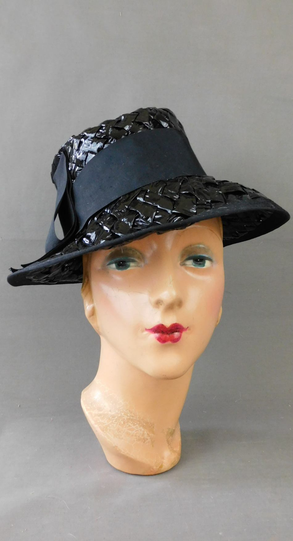 Vintage Black Shiny Raffia Straw Hat with Ribbon, 1960s Fedora Style, 22 inch head, Miss Eileen