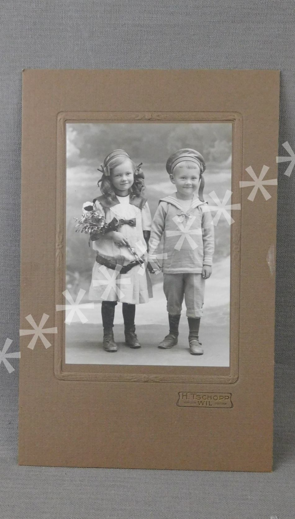 Vintage Edwardian Girl and Boy in Sailor Suit 1900s Photo, Antique Photograph