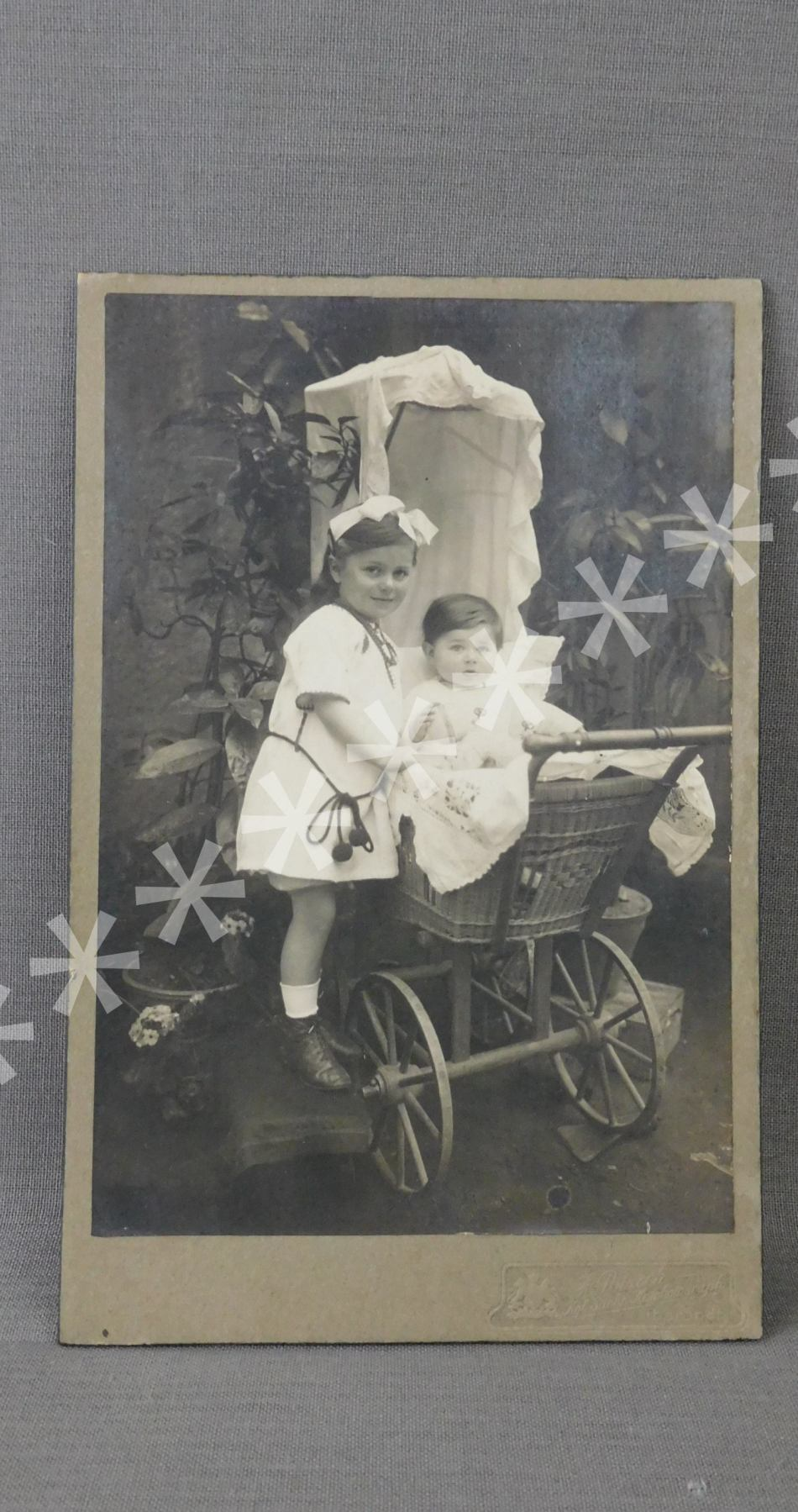 Vintage Little Girl and Baby in Carriage with Pull Toy, Cabinet Card Photo 1900s, Photograph
