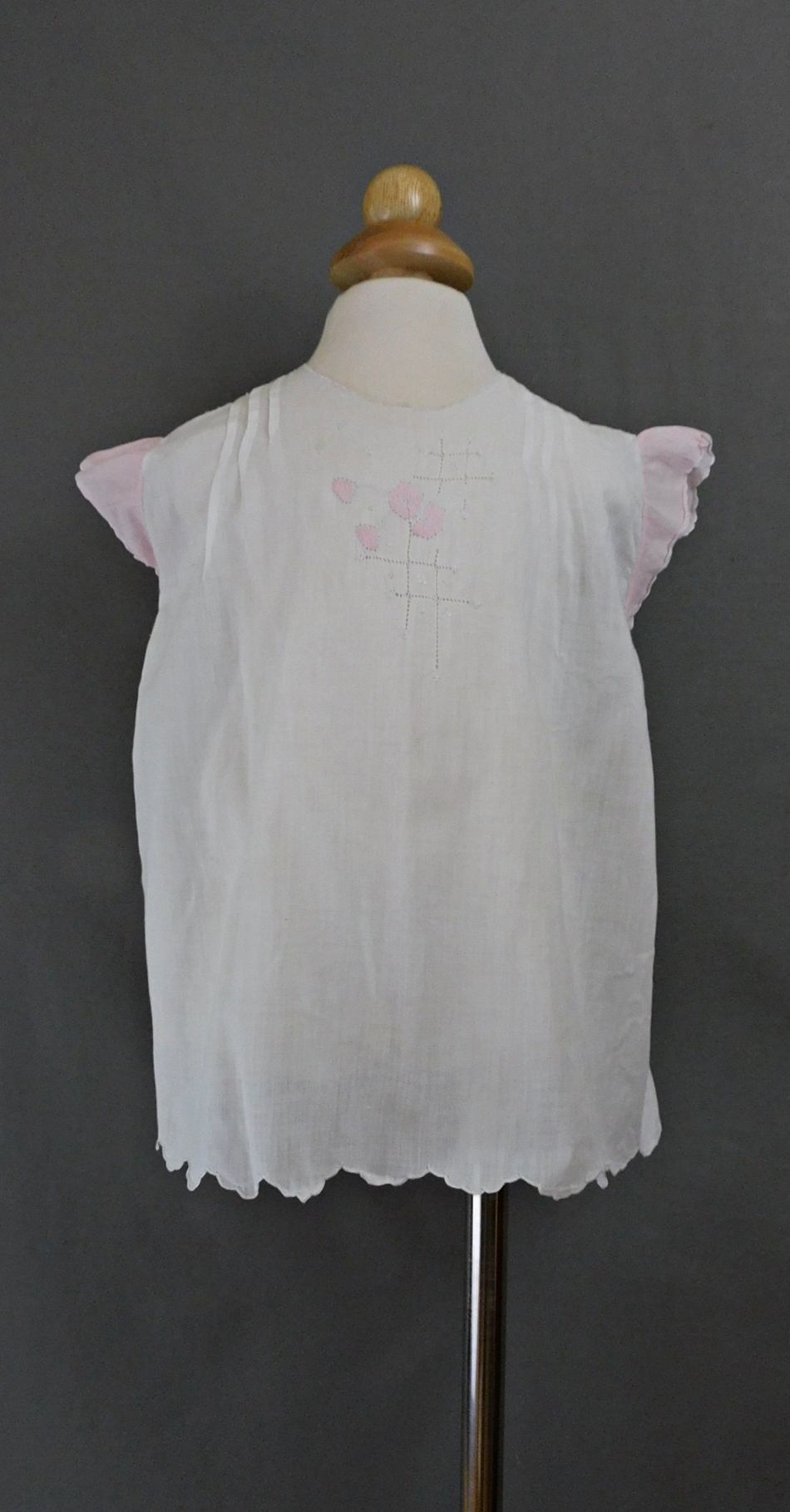 Vintage Little Girl Dress, White Cotton with Pink Sleeves, 22 inch chest 1930s, hand sewn