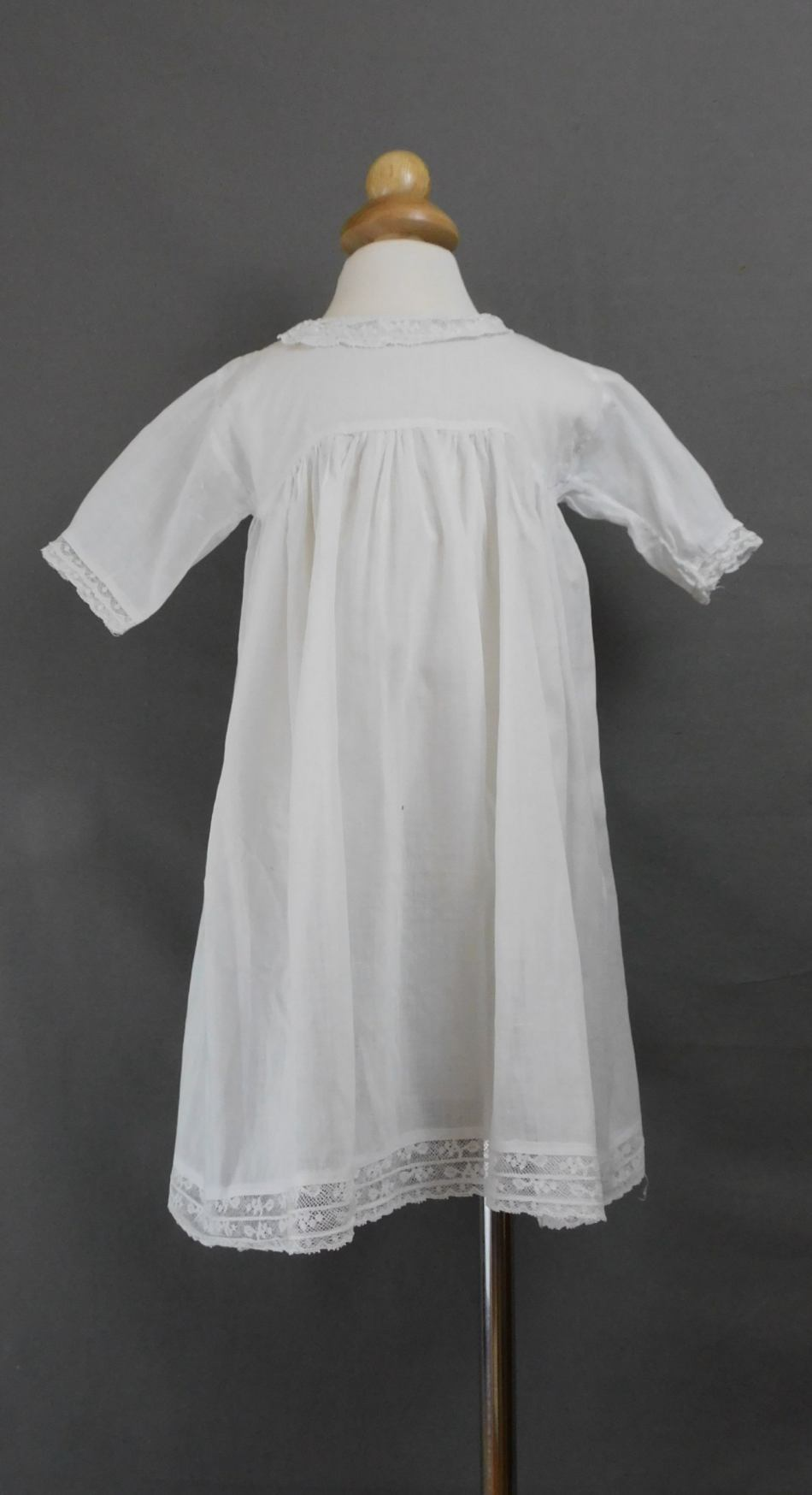 Antique Toddler Baby Dress, Edwardian 1900s Lace Collar, fits 19 inch Chest