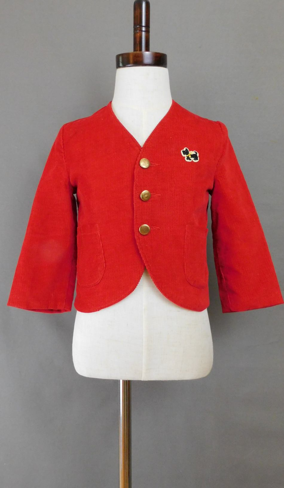 Vintage Child's Red Corduroy Jacket with Scotty Dog, Boy's 1960s, 23 inch chest