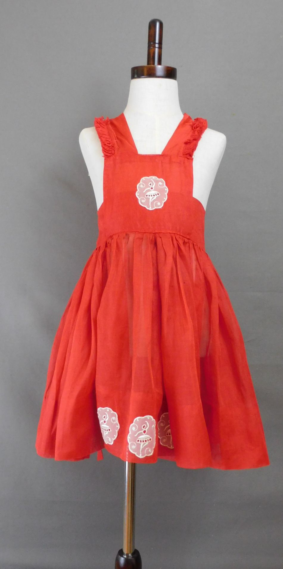 Vintage Red Organdy Pinafore Dress for Little Girl, 1950s, Ballerina Appliques, 22 inch waist