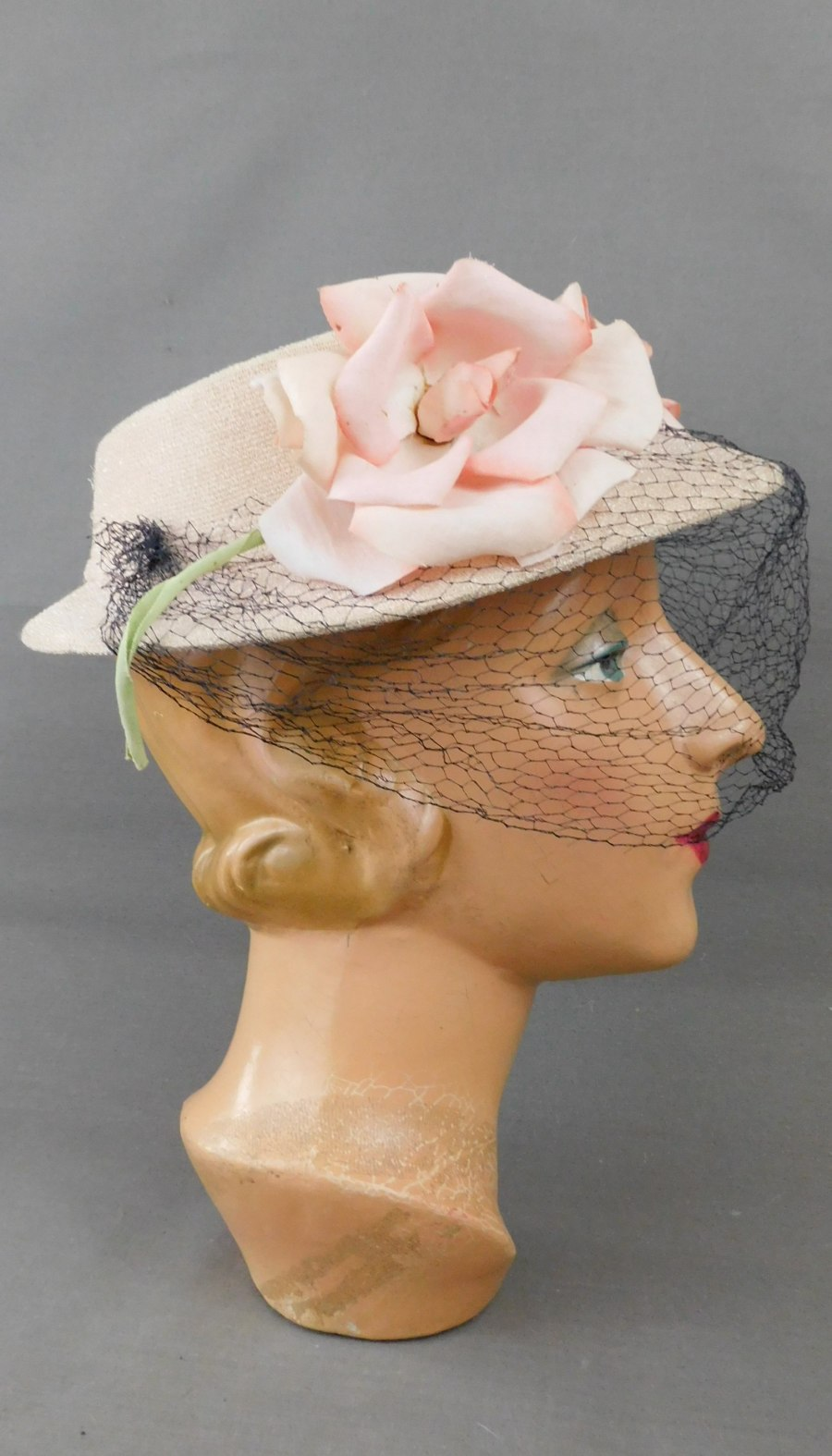 Vintage Pink Floral Hat with Open Top and Navy Veil, 1940s, some issues