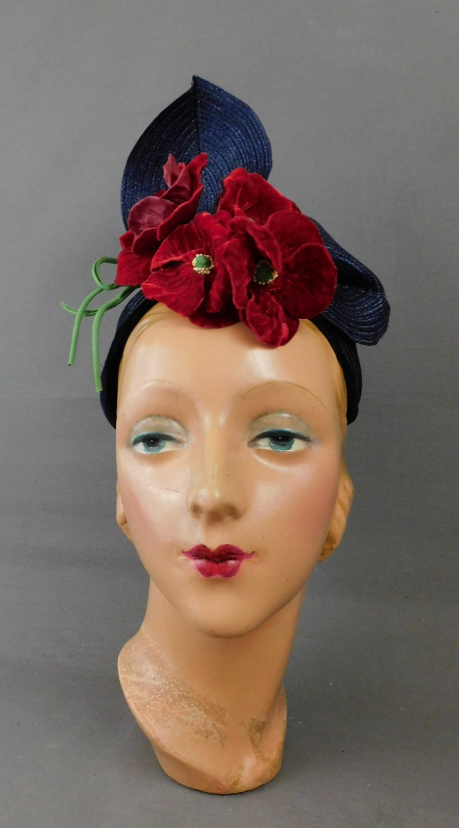 Vintage 1950s Dramatic Hat Navy Straw with Red Flowers