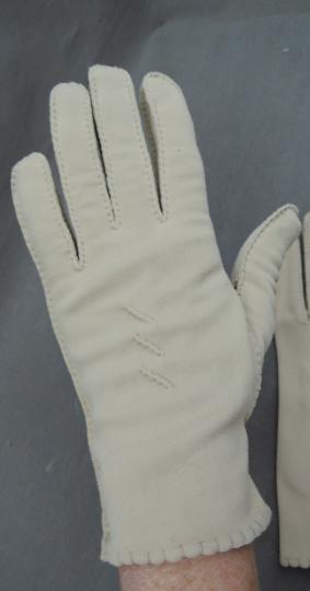 Vintage Gloves Tan size 6-1/2, 1950s 1960s, Brushed Nylon