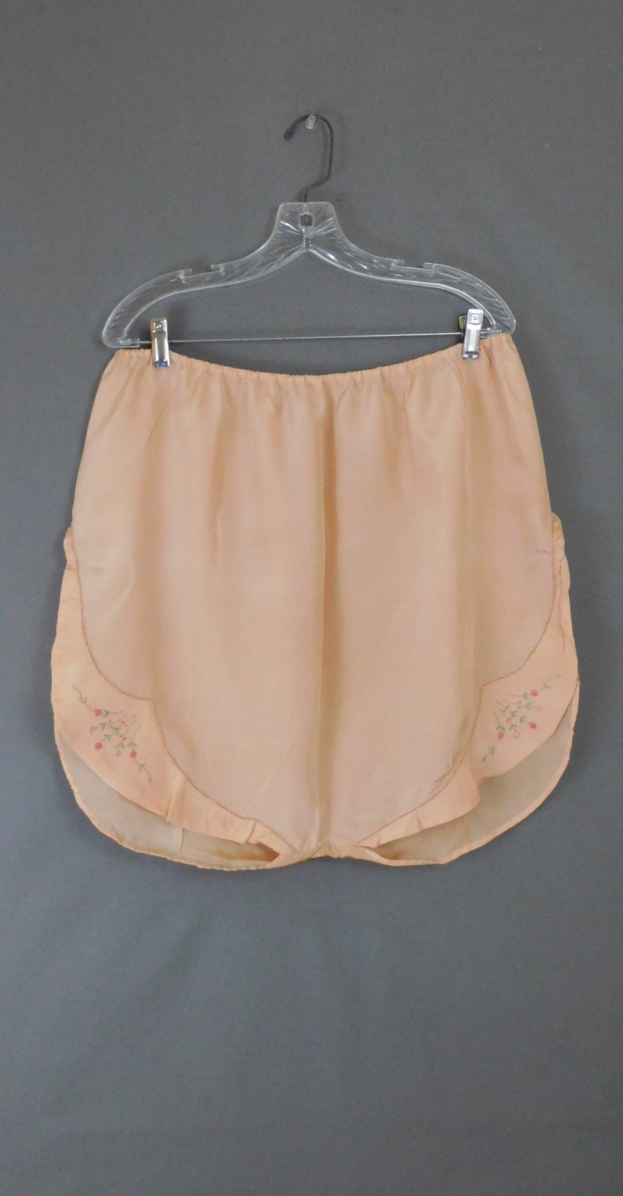 Vintage Peach Silk Panties, 32 to 36 inch waist, Embroidered 1920s, Rare Large size Lingerie