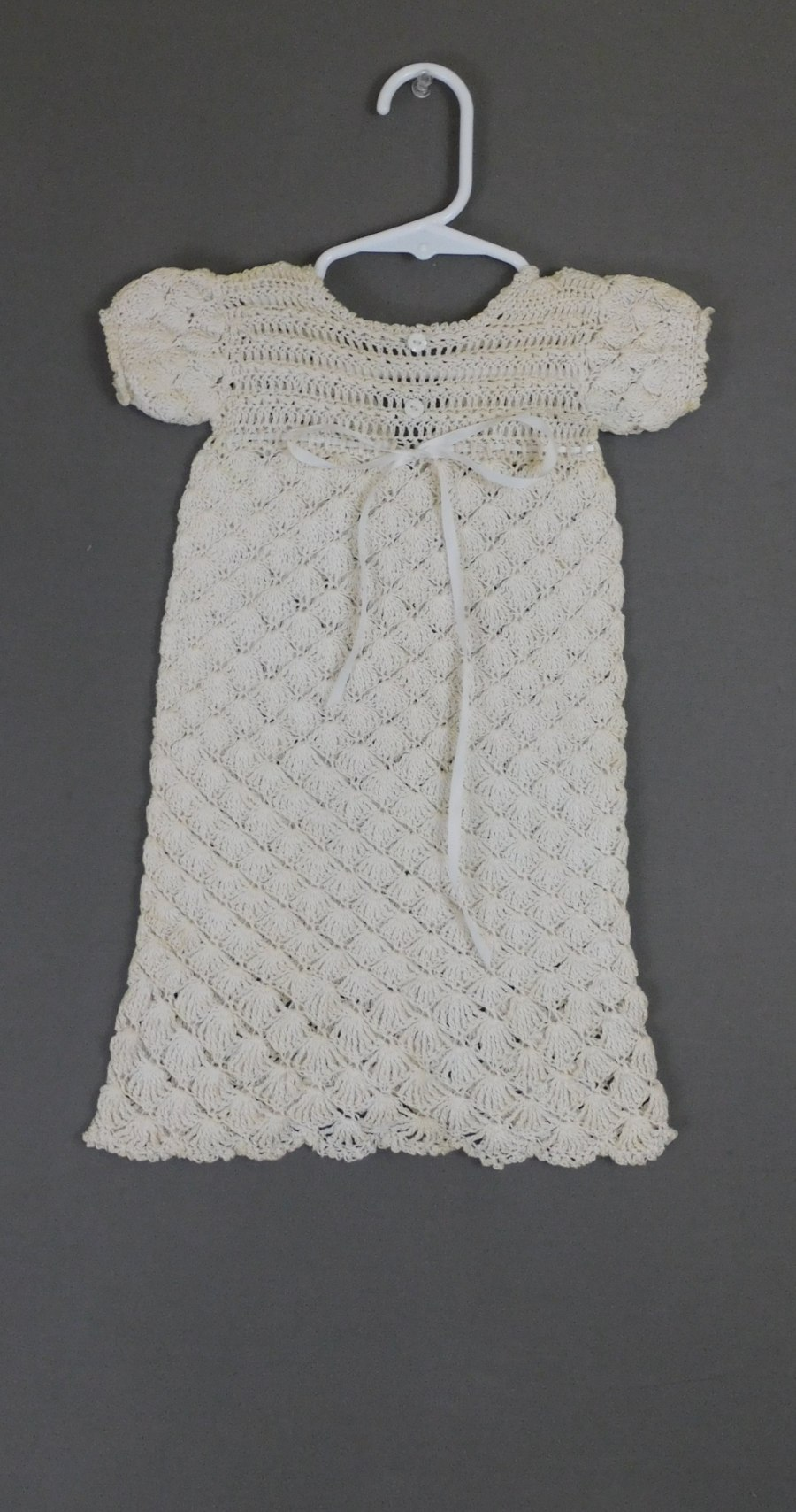 Vintage Crochet Lace Baby Infant Dress Gown, 15 inch chest, Handmade, Ivory Cotton, large doll