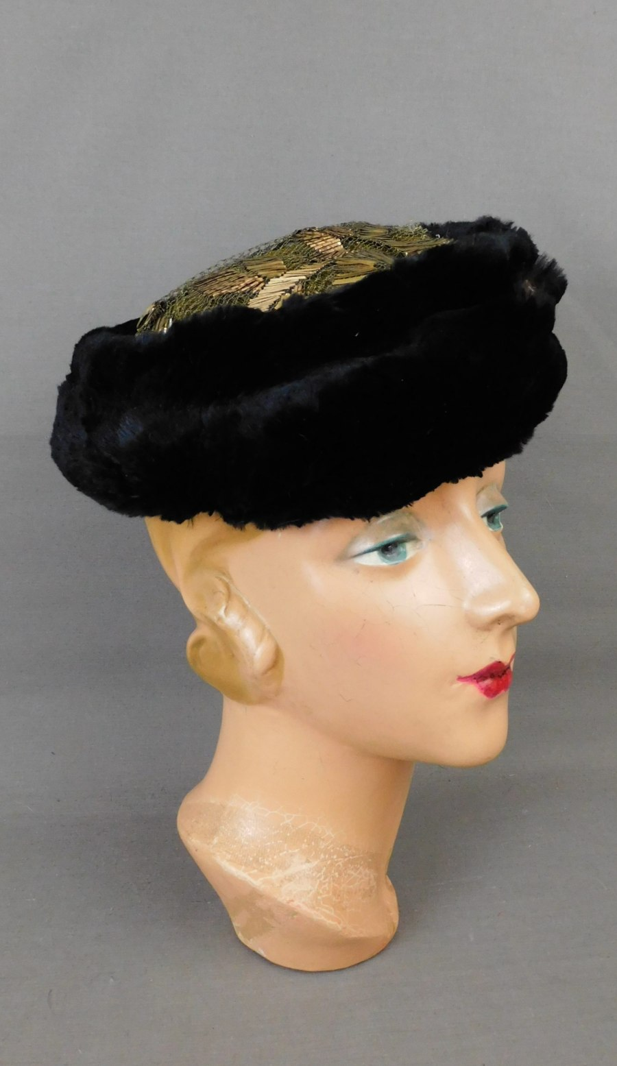 Vintage 1920s Fur and Gold Embroidered Lace Hat Carson Pirie & Scott, AS IS