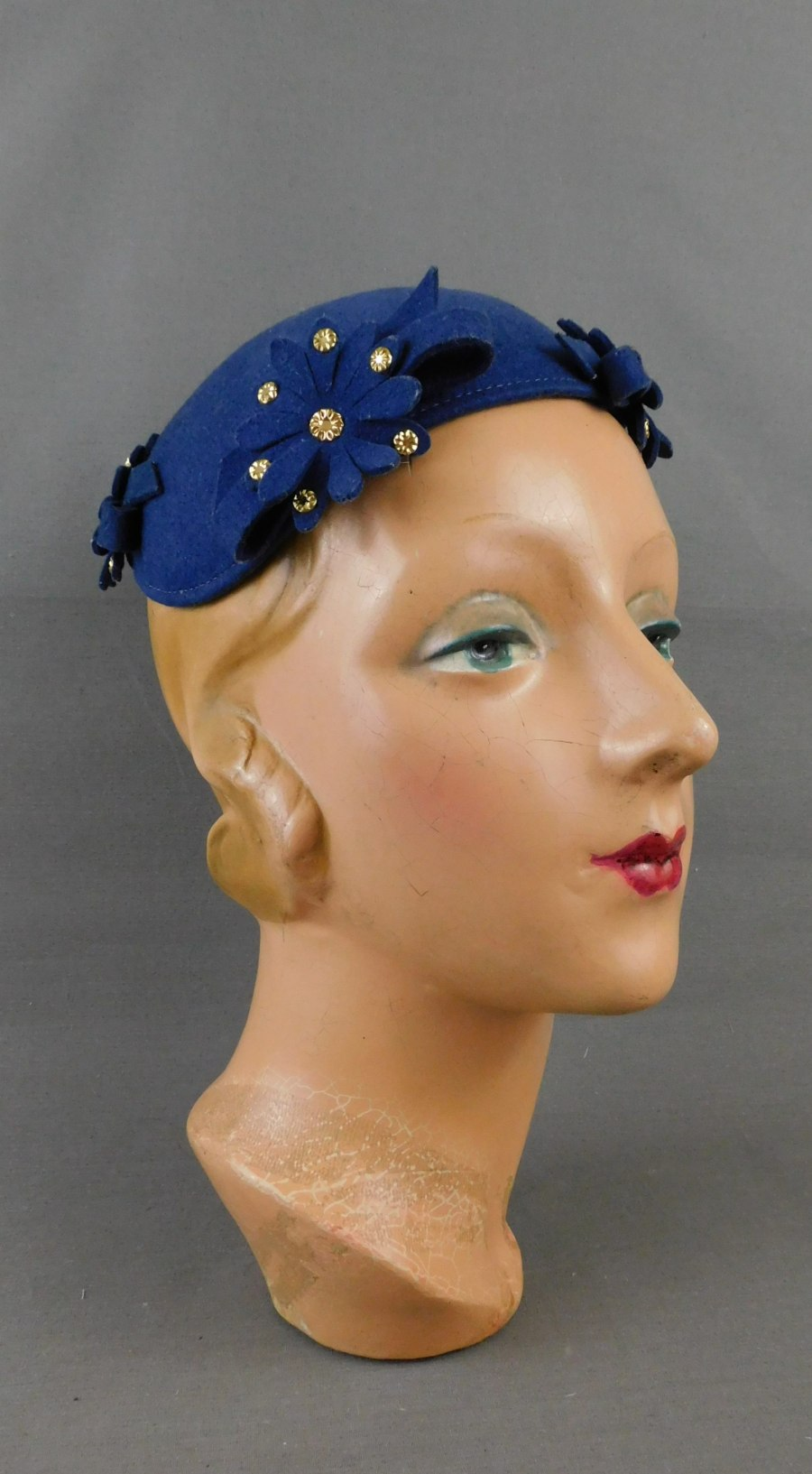 Vintage 1930s Blue Felt Hat with Flowers and Gold Studs