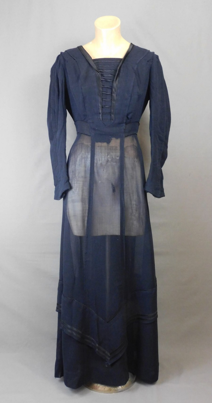 Vintage Edwardian Black Dress, fits 36 inch bust, Sheer Weaver, some issues