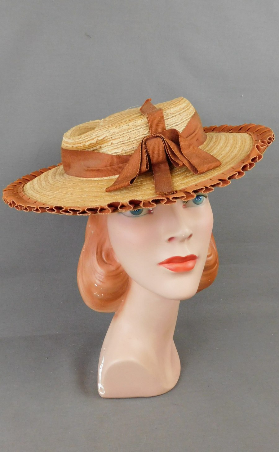 Vintage 1930s Straw Hat with Wide Brim and Brown Ribbon, 23 inch head