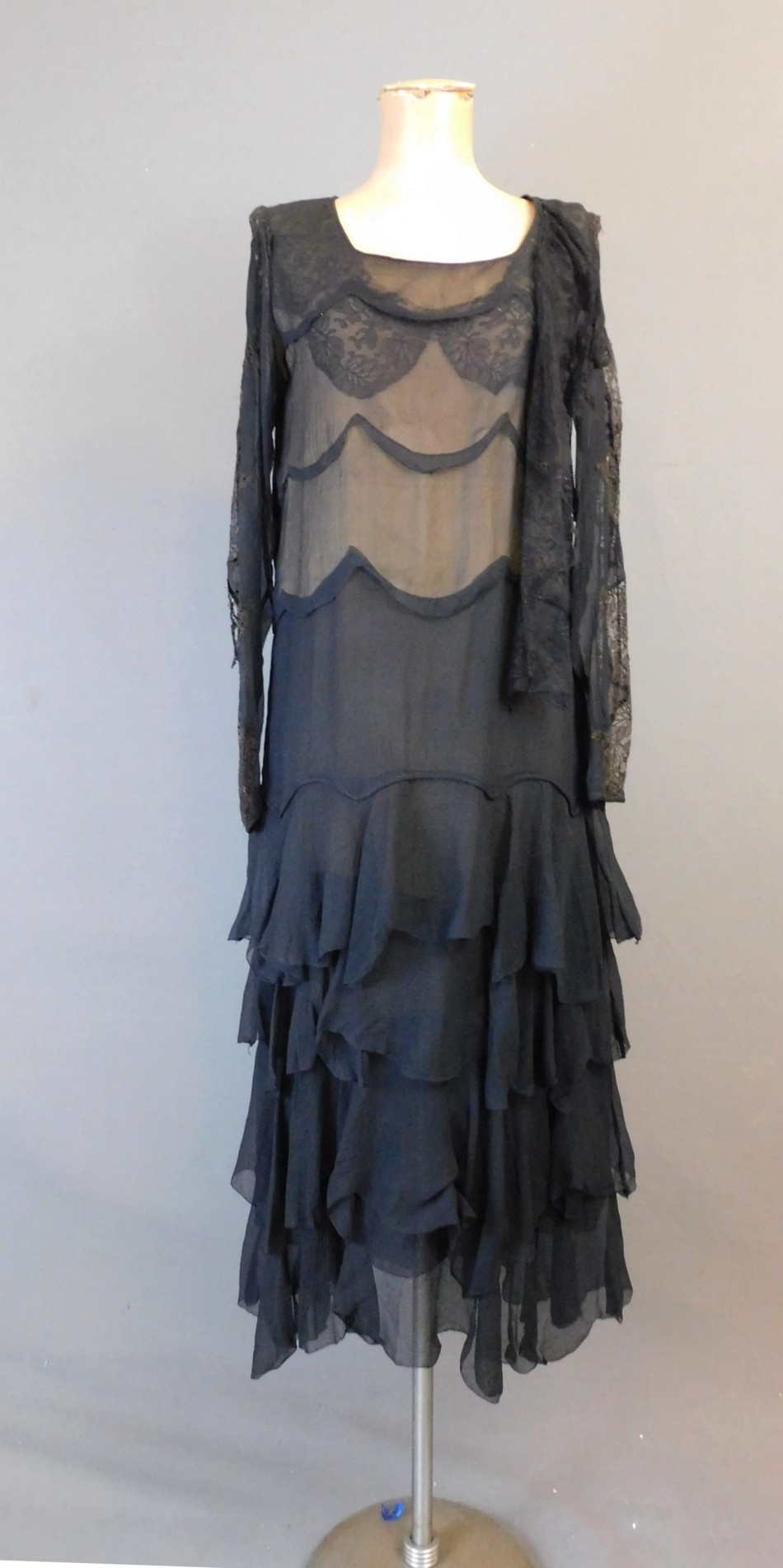 Vintage 1920s Sheer Black Layered Chiffon Dress with Lace, fits 31 inch bust, some issues