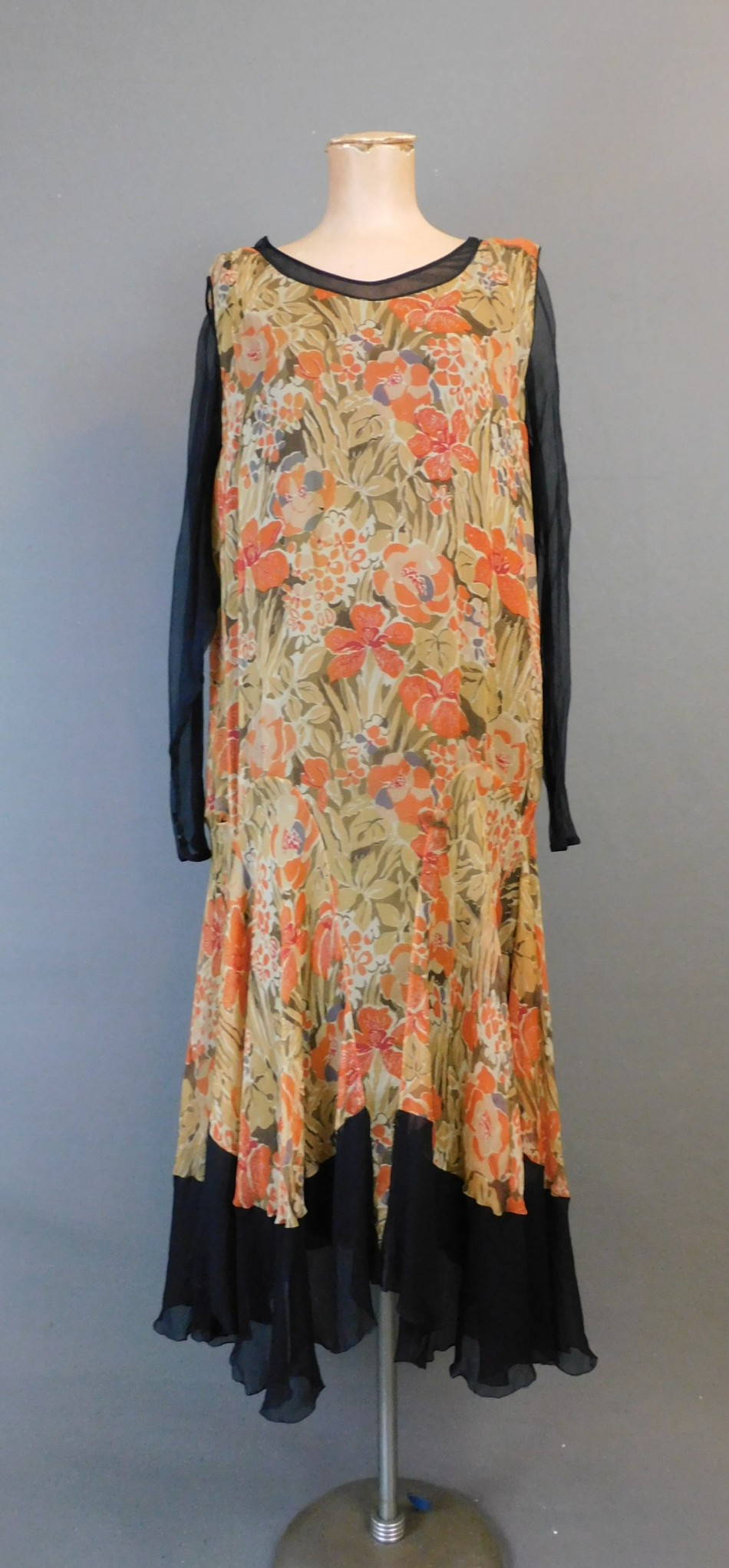 Vintage 1920s Black Chiffon and Floral Dress, fits 34 inch bust, some issues, display only