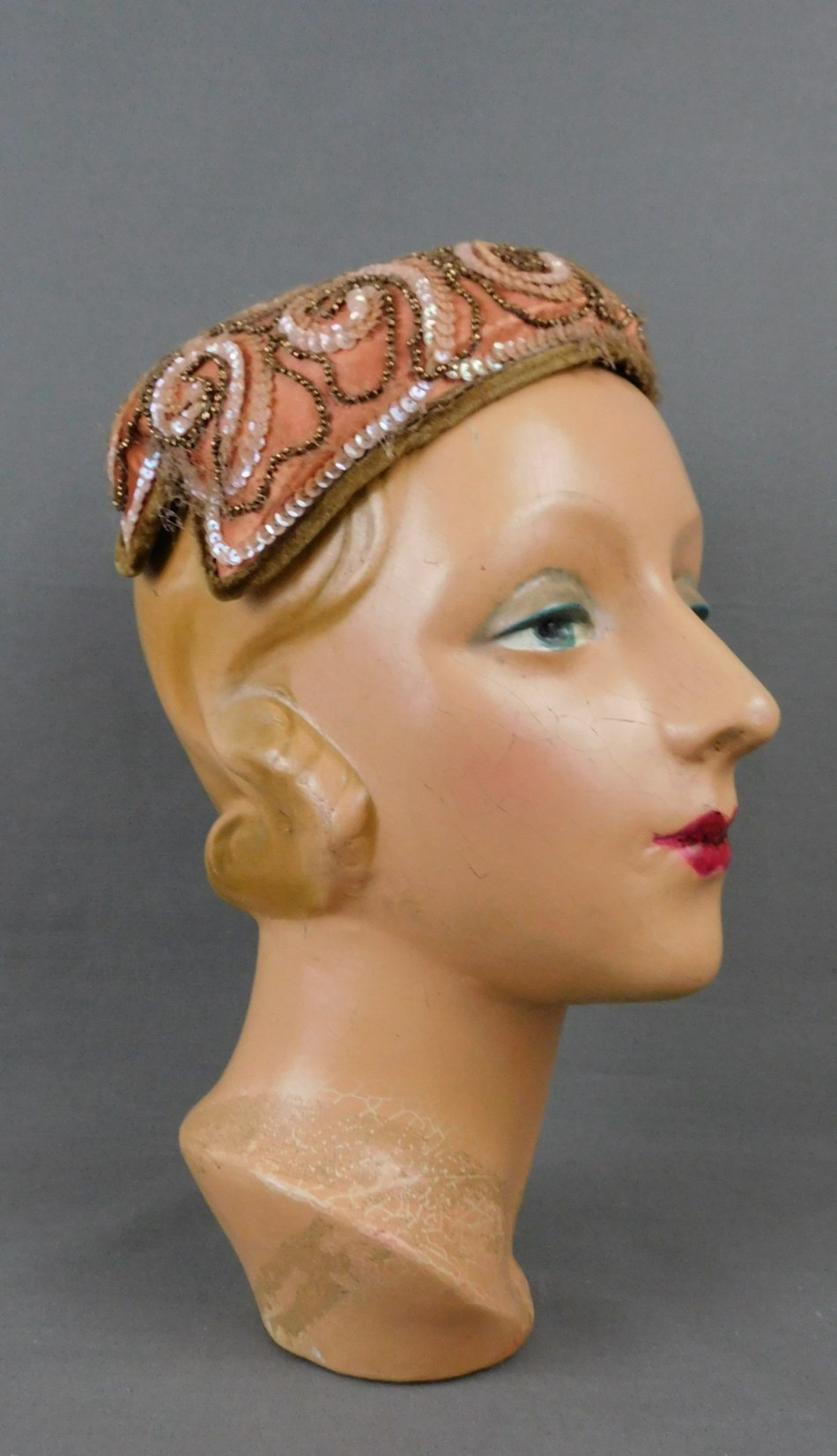 Vintage Beaded and Sequin Brown Satin Evening Hat 1950s
