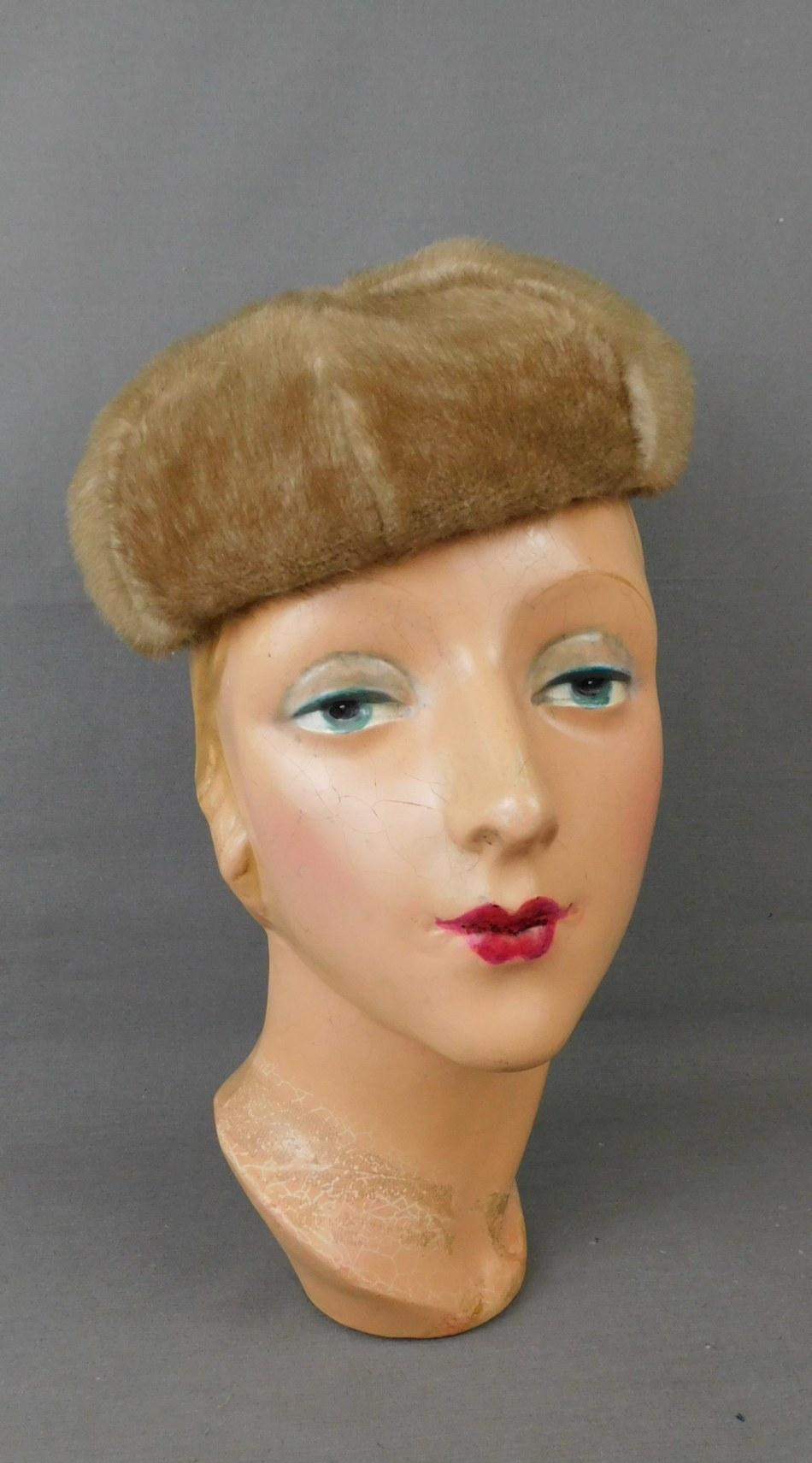 Vintage Faux Mink Fur Hat 1960s, Beret or Beanie style, Betmar, 21 inch head