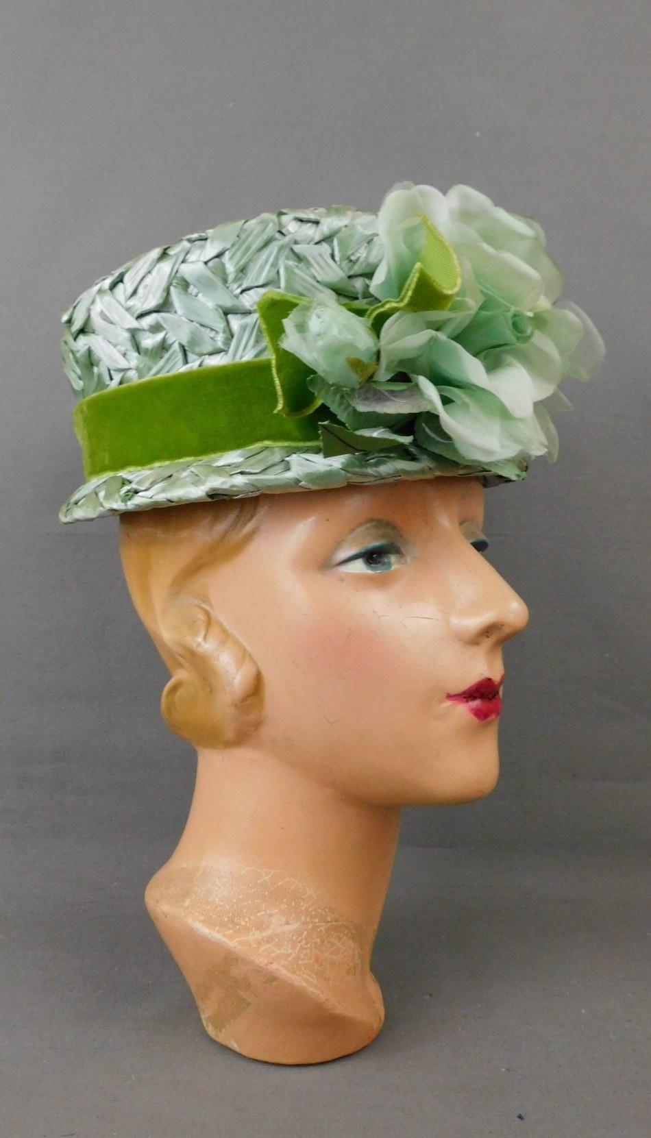 Vintage Sage Green Straw Raffia Floral Hat, 1960s 22 inch head