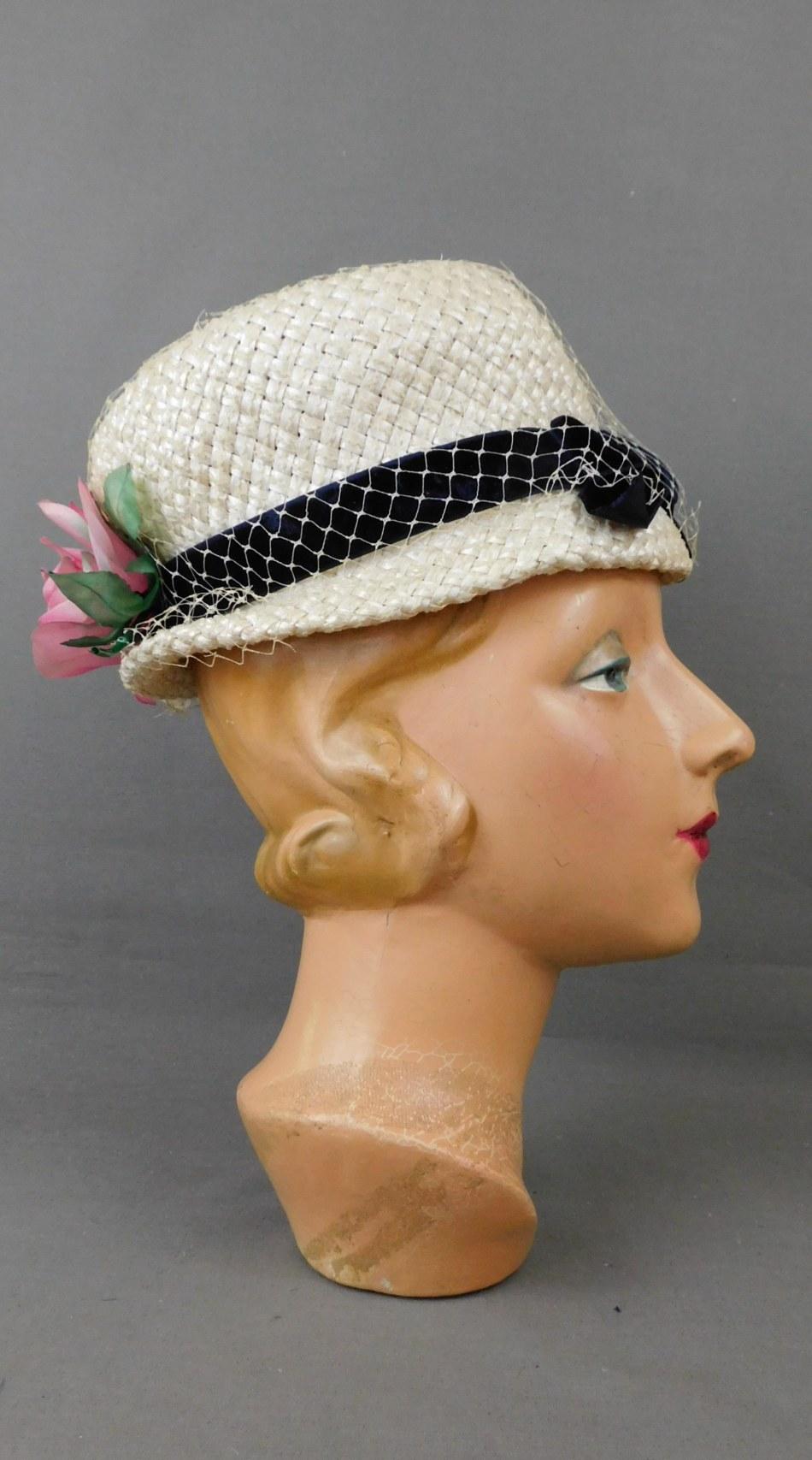 Vintage White Straw Floral Hat with Navy Velvet Ribbon, 1960s