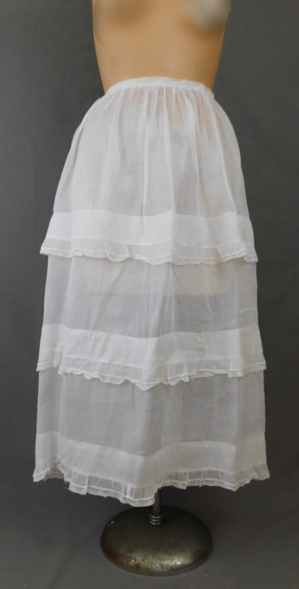 Edwardian Sheer Organdy Skirt, Vintage 1900s White Cotton, 26 inch waist, 32 inches long
