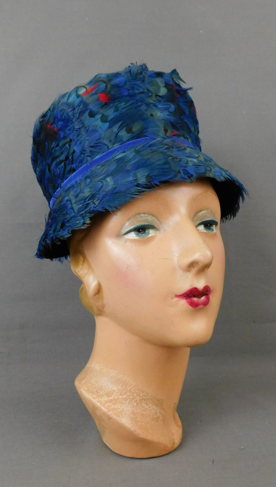 Vintage Blue Peasant Feather Bucket Hat with Red Feathers, 1960s 21 inch head, Christine Original